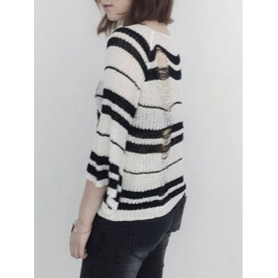 Round Neck Striped Ripped Sweater
