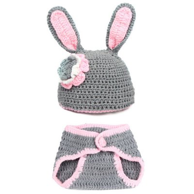Woolen Yarn Knitted Rabbit Shape Photography Clothes Set For Baby