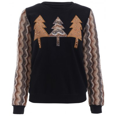 Splicing Tree Pattern Rhinestone Embellished Women's Sweatshirt