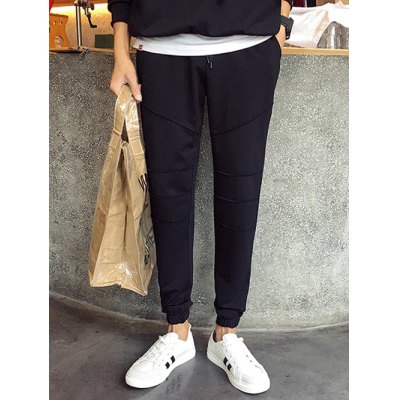 Plus Size Lace-Up Beam Feet Spliced Design Jogger Pants For Men