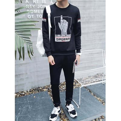 Plus Size Round Neck 3D Hand Print Long Sleeve Sport Suit ( Sweatshirt + Pants ) For Men