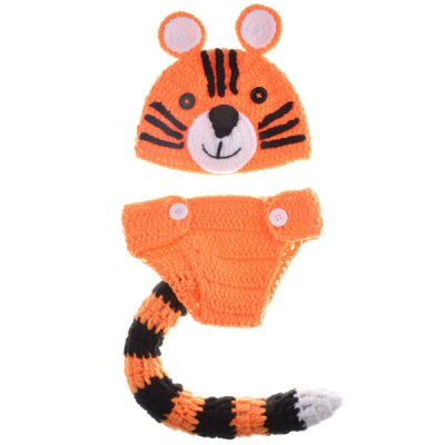 Yarn Knitted Tiger Photography Clothes Set For Baby