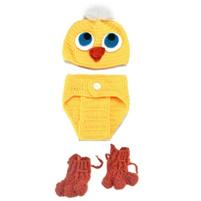 3PCS Knitted Duck Shape Photography Clothes Set