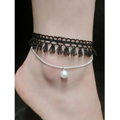 Handmade Faux Pearl Tassel Layered Anklet