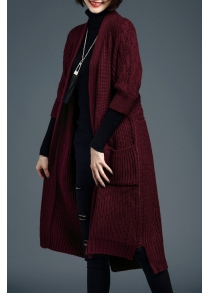 Cable Knit 3/4 Sleeve Long Cardigan