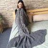 Trendy Solid Color Knitted Braid Mermaid Tail Blanket For Adult deal