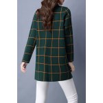 cheap Plaid Long Sleeve Straight Cardigan