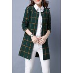 Plaid Long Sleeve Straight Cardigan