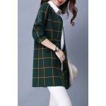 Plaid Long Sleeve Straight Cardigan for sale