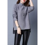 Turtleneck High Low Long Sleeve Sweater