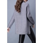 cheap Turtleneck High Low Long Sleeve Sweater