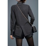 cheap Slit Asymmetric Long Sleeve Cardigan