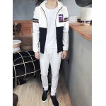 Plus Size Hooded 3D Letter Print Long Sleeve Sport Suit ( Hoodie + Pants ) For Men