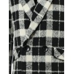 Trendy Lapel Collar Black and White Checked Coat For Men photo