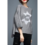 Applique 3/4 Sleeve High Low Sweater deal