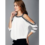 Fashionable Cut Out Fringed Splicing Women's Blouse deal