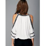 Fashionable Cut Out Fringed Splicing Women's Blouse for sale