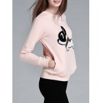 cheap Stylish Poppy Pattern Front Pocket Round Collar Sweatshirt