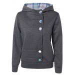 Colorful Button Pocket Hooded Coat