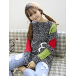 cheap Trendy Color Block Spliced Loose-Fitting Women's Sweater