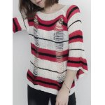 cheap Round Neck Striped Ripped Sweater