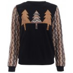 Tree Pattern Splicing Rhinestone Embellished Women's Sweatshirt