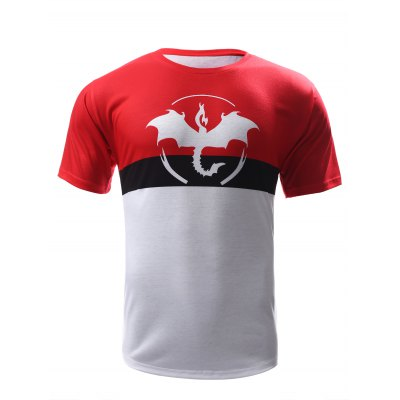 Abstract Print Color Block Round Neck Short Sleeves T-Shirt For Men