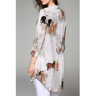 Stand Collar Pony Print Button Design Blouse