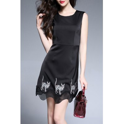 Cat Embroidered Mini Sleeveless Dress