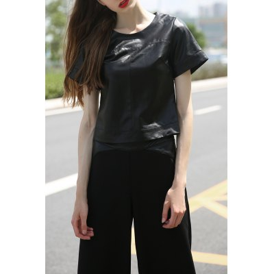 Balck PU Spliced T-Shirt and Wide Leg Pants
