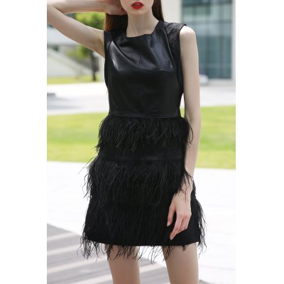 Black PU and Feather Splicing Tank Dress
