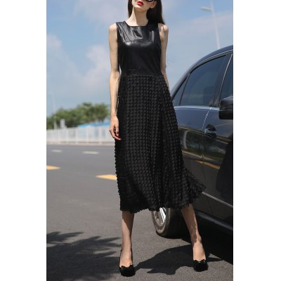 Black 3D Round Flower Maxi Dress