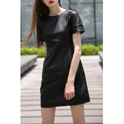 Solid Color PU Spliced Knee Length Dress