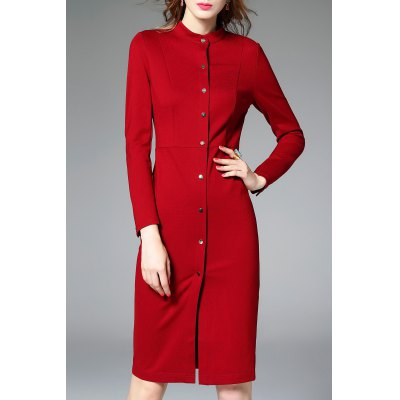 Solid Color Packet Buttock Shirt Dress