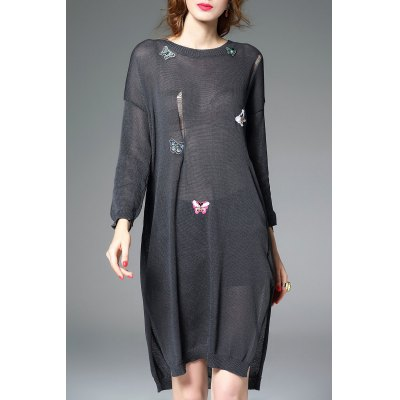 Butterfly Print See-Through Knee Length Dress