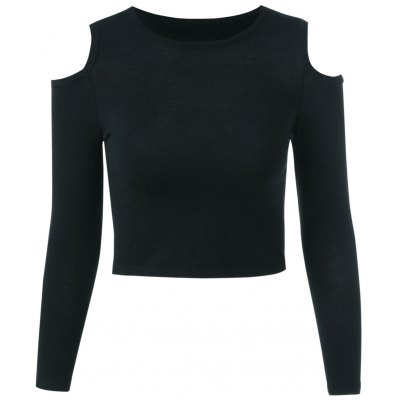 Cut Out Long Sleeve Pure Color Sweater