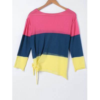 Hit Color Loose Long Sleeve Sweater