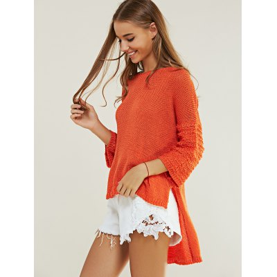 Casual Pure Color High Low Knitted Top For Women