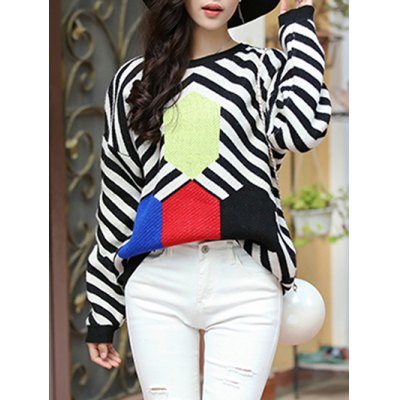 Trendy Dolman SLeeve Stripe Hit Color Chunky Sweater