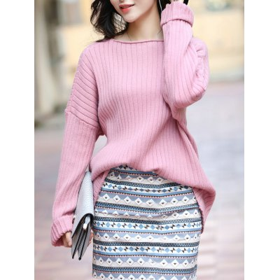 Elegant Long SLeeve Pure Color Loose-Fitted Sweater