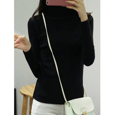 High Neck Pure Color Long Sleeve Sweater
