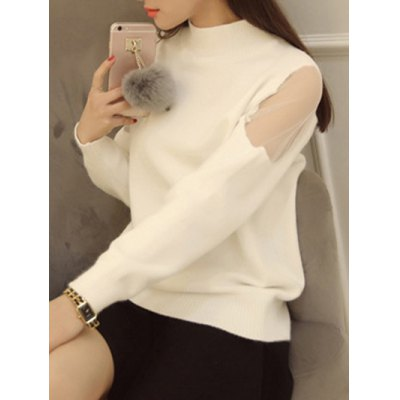 Voile Splicing High Neck Candy Color Sweater