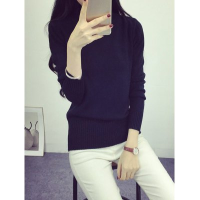 High Neck Long Sleeve Candy Color Sweater