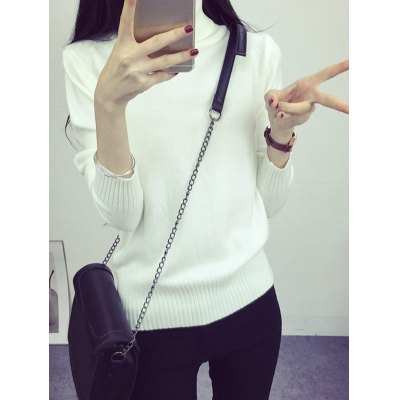 High Neck Sweet Solid Color Sweater