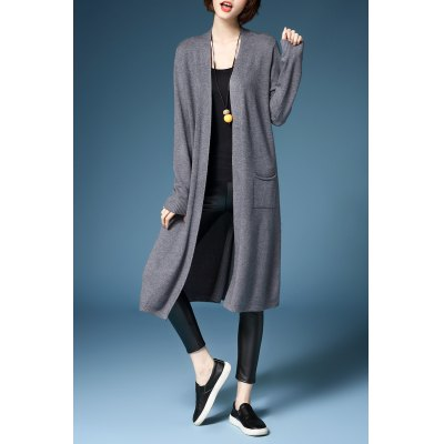 Slit Open Front Long Cardigan