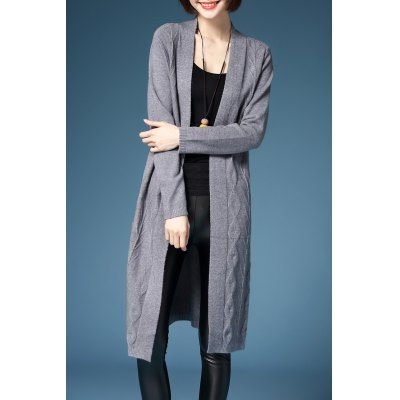Collarless Knitted Cardigan