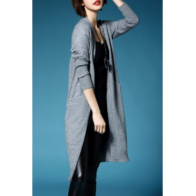 Long Sleeve Collarless Knitted Cardigan