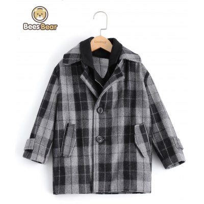 Stylish Two Button Design Plaid Furcal Wool Coat For Boy