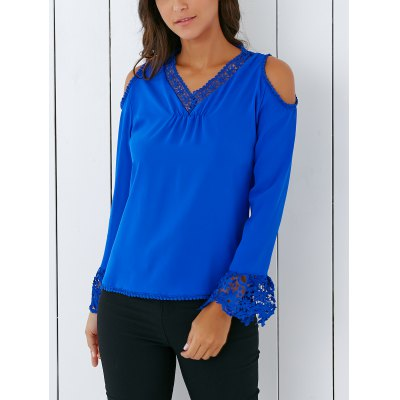 V Neck Lace Spliced Hollow Out Crochet Blouse