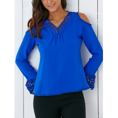 Trendy V Neck Lace Spliced Hollow Out Crochet Blouse